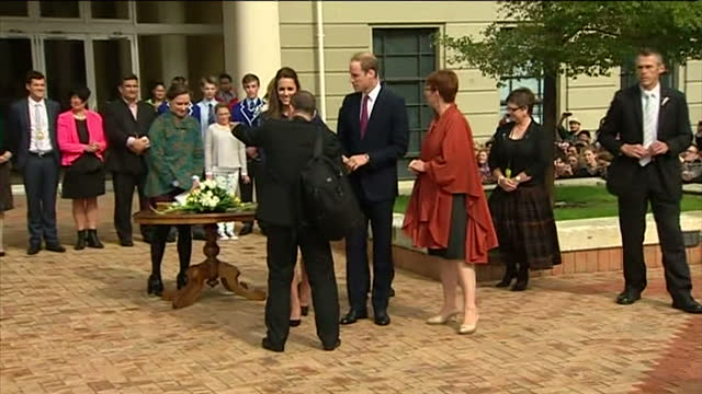 exterior shots of prince william and catherine duchess of cambridge signing a visitors book while on a visit to wellington on april 15 2014 in... - 公爵点の映像素材/bロール