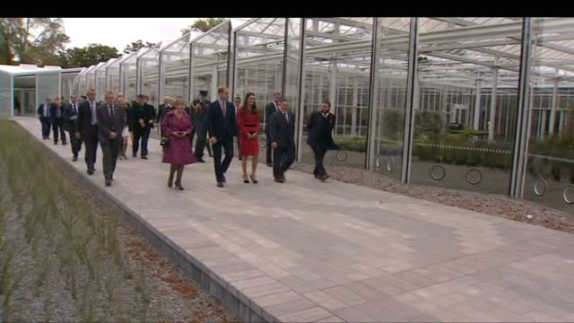 exterior shots of prince william and catherine duchess of cambridge on tour of christchurch botanic gardens on april 14 2014 in wellington wellington - 公爵点の映像素材/bロール