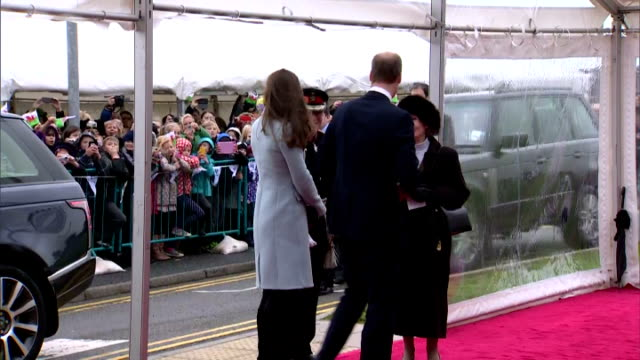 exterior shots of prince william and catherine duchess of cambridge shaking hands with officials on a visit to pembroke oil refinery on november 08... - pembroke video stock e b–roll