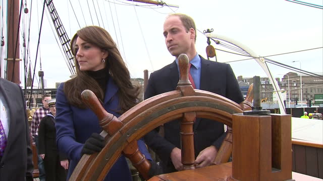Exterior shots of Prince William and Catherine Duchess of Cambridge inspecting the ships wheel and helm of RRS Discovery on October 23 2015 in Dundee...