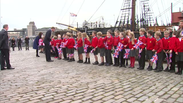 Exterior shots of Prince William and Catherine Duchess of Cambridge arriving at Discovery Quay to visit RRS Discovery on October 23 2015 in Dundee...