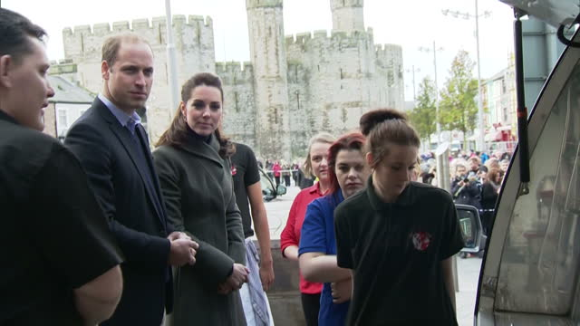 Exterior shots of Prince William and Catherine Duchess of Cambridge inspecting a mobile catering van owned by the homeless charity GISDA on November...