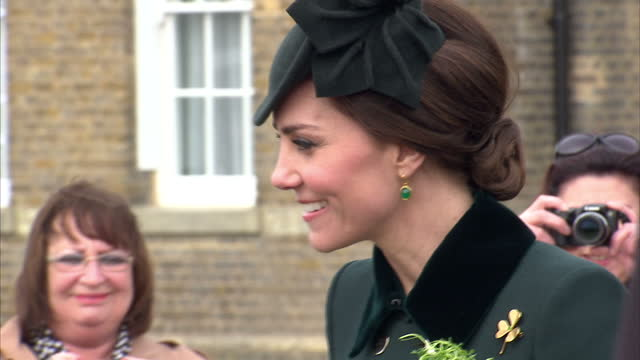 exterior shots of prince william and catherine duchess of cambridge taking part in a st patrick's day ceremony with irish guards at the household... - ceremony stock videos & royalty-free footage