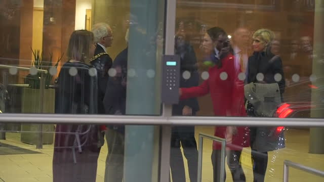 Exterior shots of Prince William and Catherine Duchess of Cambridge leaving the Manchester Central Convention Complex as a member oif the public...