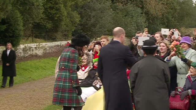 Exterior shots of Prince William and Catherine Duchess of Cambridge greeting members of the public waiting outside St Mary Magdalene Church as the...