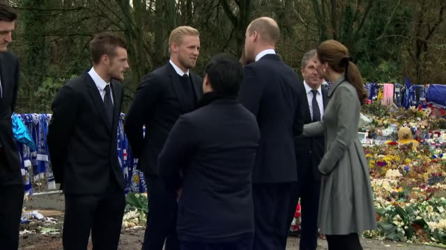 Exterior shots of Prince William and Kate Middleton at Leicester City Football club playing tribute to Chairman Vichai Srivaddhanaprabha and meeting...