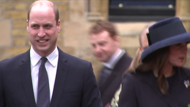 exterior shots of prince william and the duchess of cambridge pregnant arriving and meeting children including shots of prince harry and meghan... - prinz william herzog von cambridge stock-videos und b-roll-filmmaterial