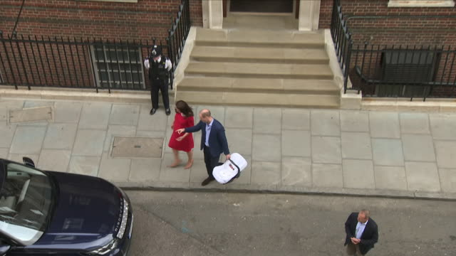 Exterior shots of Prince William Catherine Duchess of Cambridge and their newborn baby son depart hospital and leave in a Range Rover top shot on 23...