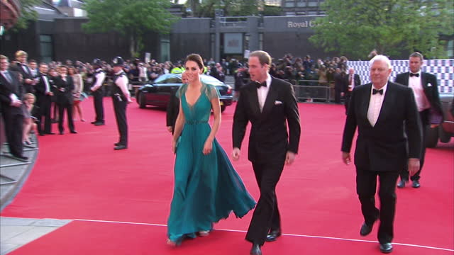 exterior shots of prince william & catherine, duchess of cambridge arrive at royal albert hall for a team gb gala. catherine wears a pleated jenny... - gala stock videos & royalty-free footage