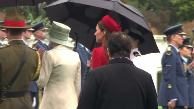 exterior shots of prince william catherine duchess of cambridge arriving at government house in wellington escorted by the governor general of new... - 2014 stock videos & royalty-free footage