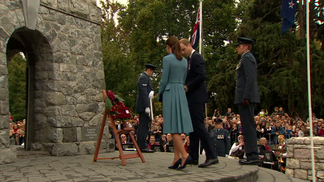 exterior shots of prince william catherine duke duchess of cambridge arrive for a wreathlaying ceremony and commemoration prince william chats to... - 2014 stock videos & royalty-free footage