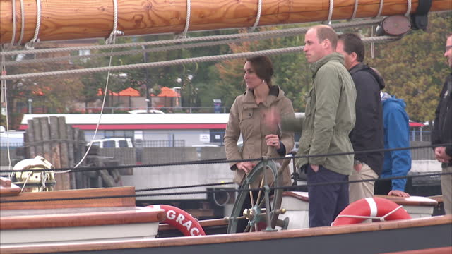 exterior shots of prince william catherine duke duchess of cambridge on the tall ship pacific grace sailing towards victoria's inner harbour on... - british columbia stock videos & royalty-free footage