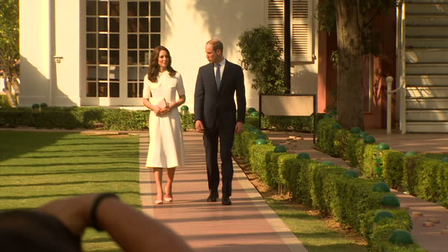Exterior shots of Prince William Catherine Duke Duchess of Cambridge pay their respects at the place where Mahatma Gandhi's life ended at Gandhi...