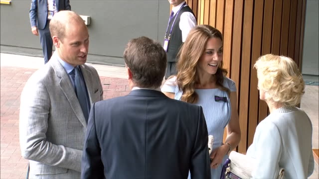 Exterior shots of Prince William Duke of Cambridge and Catherine Duchess of Cambridge arriving to attend Wimbledon Men's Final being greeted by...