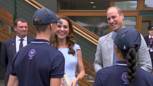 exterior shots of prince william, duke of cambridge and catherine, duchess of cambridge talking to children, ballboys and ballgirls tom hubner... - attending stock videos & royalty-free footage