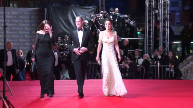 exterior shots of prince william, duke of cambridge and catherine, duchess of cambridge arriving at the baftas awards on 2nd february 2020 in london,... - award stock videos & royalty-free footage