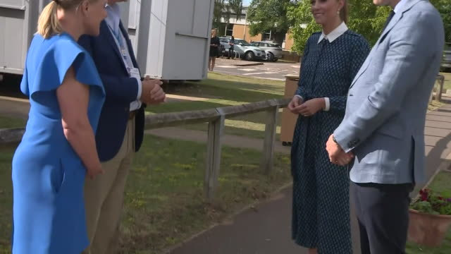 exterior shots of prince william, duke of cambridge and catherine, duchess of cambridge sanitising their hands on arrival and speaking with staff at... - queen's birthday stock videos & royalty-free footage