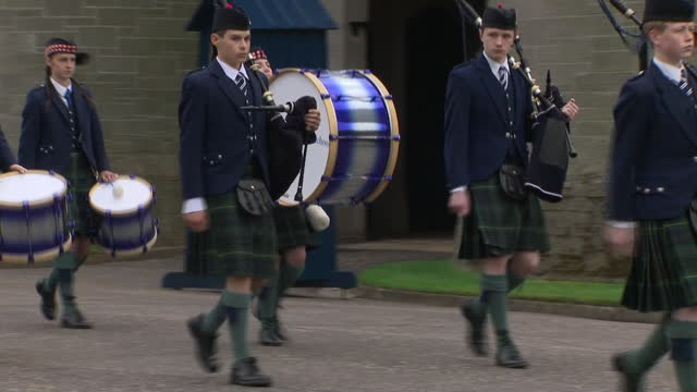 GBR: The Duke and Duchess of cambridge attend Beating Retreat by The Massed Pipes and Drums of the Combined Cadet Force in Scotland at the Palace of Holyroodhouse.