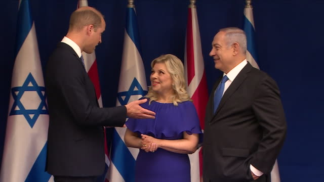 exterior shots of prince william, duke of cambridge as he meets prime minister benjamin netanyahu and his wife sara for a press photo call at the... - photo call stock videos & royalty-free footage