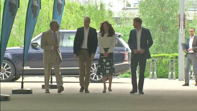 Exterior shots of Prince William Duke of Cambridge Catherine Duchess of Cambridge and Prince Harry arriving at the Olympic Park for 'Heads Together'...