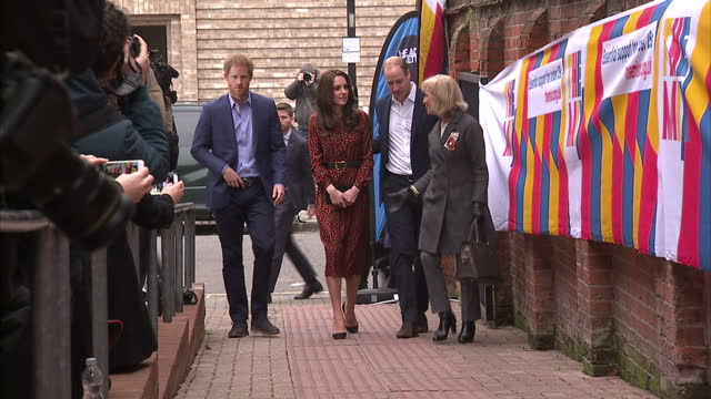 exterior shots of prince william, duke of cambridge, catherine, duchess of cambridge and prince harry arriving at an annual general meeting and heads... - annual general meeting stock videos & royalty-free footage