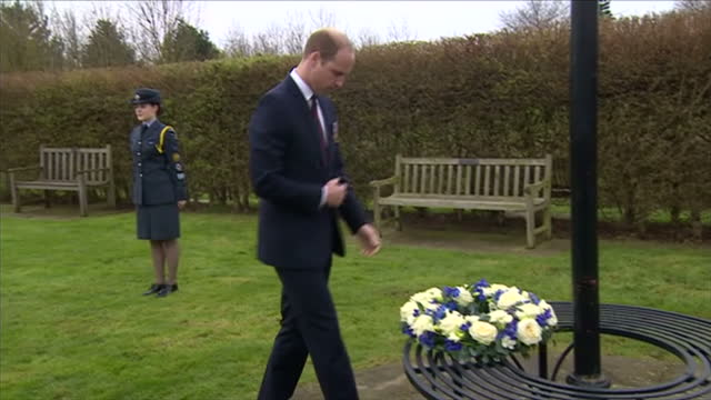 Exterior shots of Prince William laying a wreath at the Natinoal Memorial Arboretum on 29 March 2017 in Lichfield United Kingdom