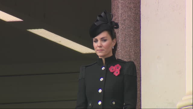 exterior shots of prince william laying wreath at the cenotaph as catherine duches of cambridge watches from whitehall balcony on remembrance sunday... - remembrance sunday stock videos & royalty-free footage