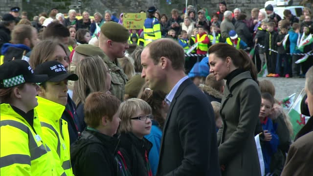 exterior shots of prince william meeting crowds outside caernarfon castle whilst on a visit to charities in wales on november 20 2015 in caernarfon... - herzog von cambridge stock-videos und b-roll-filmmaterial