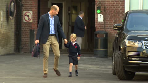 exterior shots of prince william taking prince george to school for his first day at thomas's, battersea and being greeted by head teacher helen... - day 1 stock videos & royalty-free footage