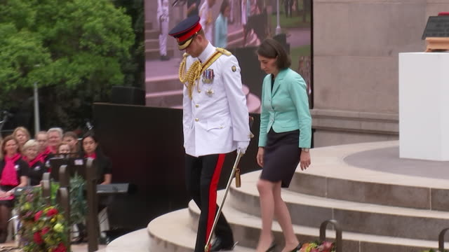 exterior shots of prince william unveiling a plaque at the opening of an anzac war memorial at a service on 20 october 2018 in sydney, australia - 飾り板点の映像素材/bロール
