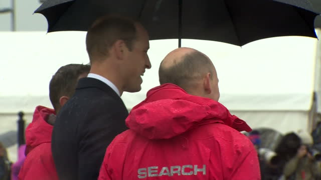 exterior shots of prince william visiting lagan search and rescue and speaking to search and rescue personnel during a demonstration of a rescue... - river lagan stock videos & royalty-free footage