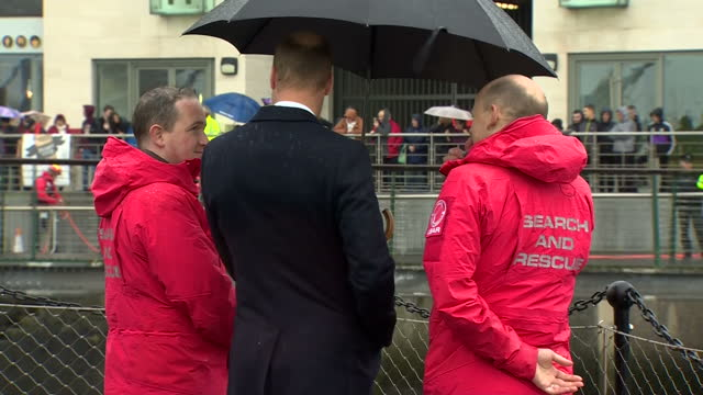 exterior shots of prince william visiting lagan search and rescue and watching a demonstration of a rescue operation on the river lagan on october... - river lagan stock videos & royalty-free footage