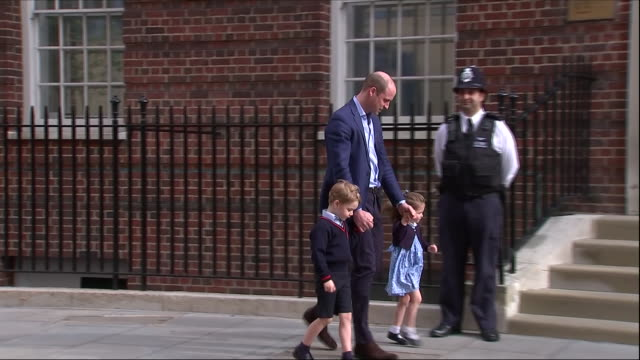 exterior shots of prince william walking from a land rover discovery with other children george and charlotte on their first visit to their new baby... - visit stock videos & royalty-free footage