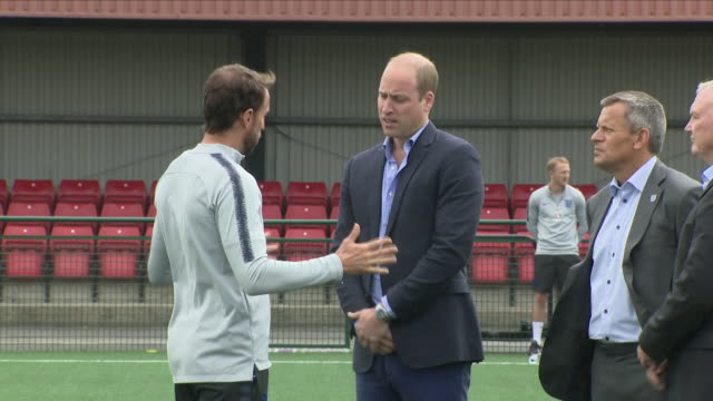Exterior shots of Prince William walking on the football pitch and meeting the England Manager Gareth Southgate as the England team train ahead of...