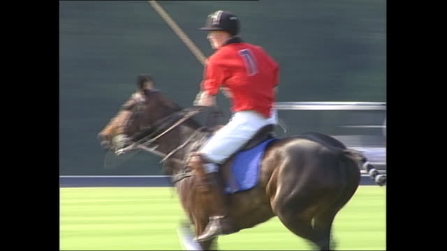 exterior shots of princes william, harry and charles playing in a polo match on 20 june 2003 in anglesea, wales, united kingdom - sports activity stock videos & royalty-free footage
