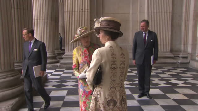Exterior shots of Princess Anne arriving at St Paul's Cathedral >> on June 10 2016 in London England