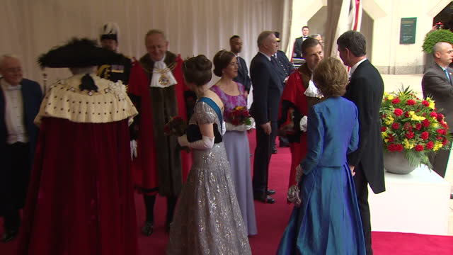exterior shots of princess anne at the guildhall awaiting the arrival of the king and queen of spain on 13 july 2017 in london united kingdom - state dinner stock videos and b-roll footage