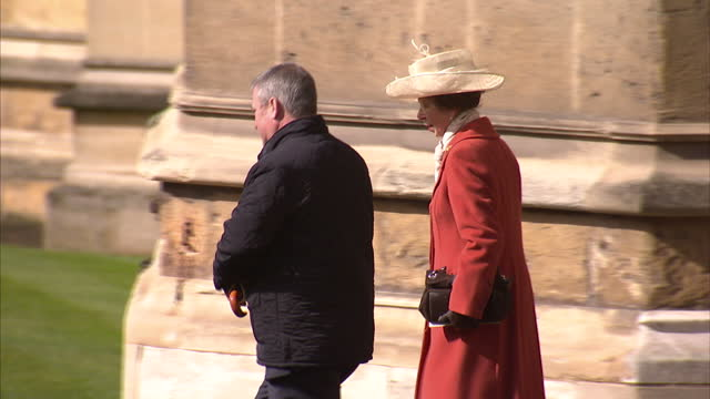 exterior shots of princess anne departing from st george's chapel after attending the easter sunday service>> on march 27 2016 in windsor england - st. george's chapel stock videos and b-roll footage