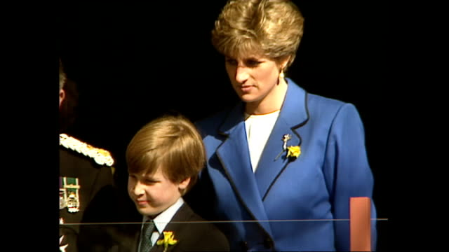 exterior shots of princess diana and prince william watching a st david's day celebration parade from the balcony of st david's hall. music and... - peerage title stock videos & royalty-free footage