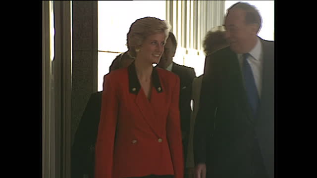 exterior shots of princess diana arriving and departing the national westminster hall wearing a red blazer and black skirt on april 19 1990 in london... - blazer jacket stock videos & royalty-free footage
