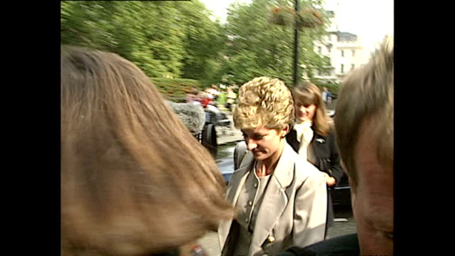 exterior shots of princess diana arriving at the royal college of nursing for child bereavement trust launch in cavendish square on september 26,... - grey colour stock videos & royalty-free footage