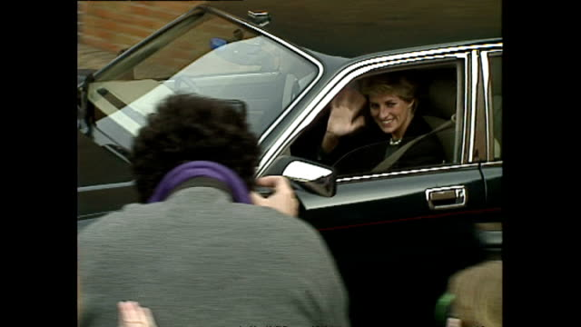 exterior shots of princess diana departing broadmoor hospital in car and wave at children on november 03 1994 in berkshire england - royalty stock videos & royalty-free footage
