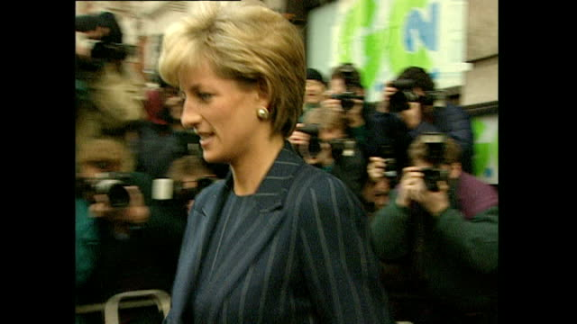exterior shots of princess diana departing from the centrepoint charity on 2 december 1996 in london, united kingdom - paparazzi photographer stock videos & royalty-free footage