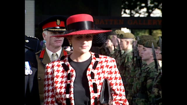 exterior shots of princess diana inspecting guard of honour soldiers during freedom of portsmouth ceremony on october 16, 1992 in portsmouth, england. - hat stock videos & royalty-free footage
