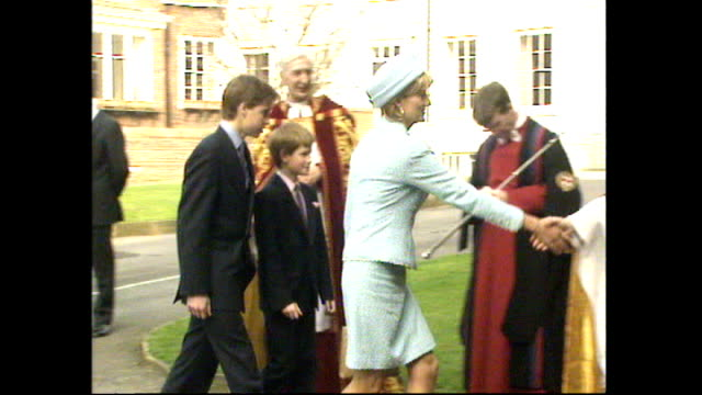 exterior shots of princess diana prince william prince harry and prince charles walking from a car into st george's chapel at windsor castle for... - st. george's chapel stock videos and b-roll footage