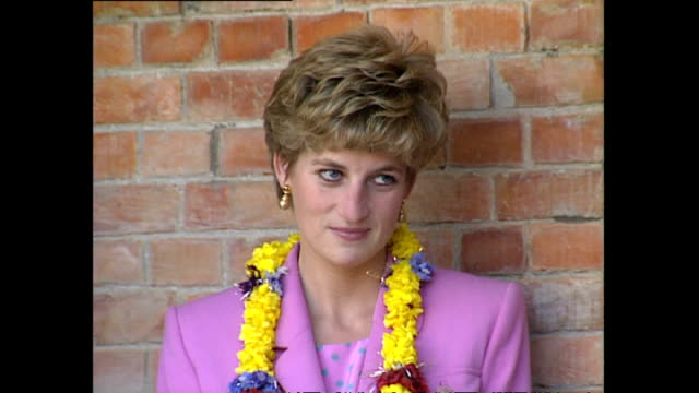 exterior shots of princess diana princess of wales and crown prince dipendra bir bikram shah unveiling plaque at hiunchuli school during her royal... - crown prince stock videos & royalty-free footage