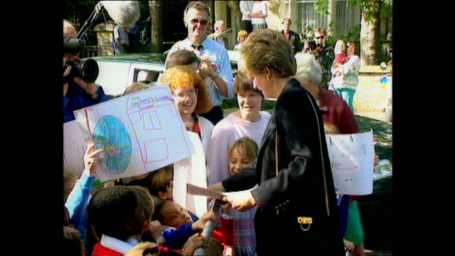 Exterior shots of Princess Diana Princess of Wales arriving at Centrepoint Hostel and greeting mayor on 21 September 1993 Lewisham England