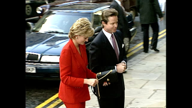 exterior shots of princess diana princess of wales arriving at cafe royal for unveiling of her new portrait painting by artist henry mee on 27... - cafe royal stock videos and b-roll footage