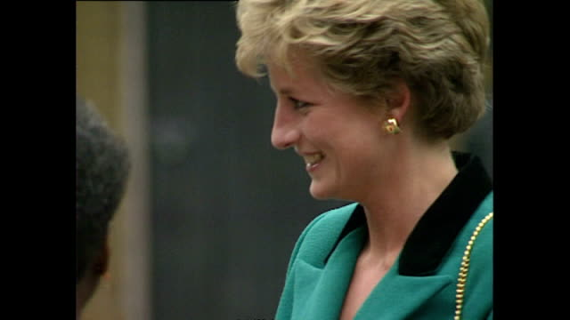 Exterior shots of Princess Diana Princess of Wales arriving at Images of Drugs Exhibition and greeting members of the public outside on 16 September...