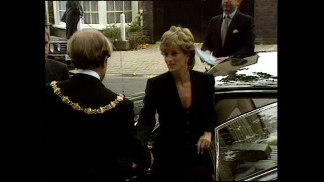 Exterior shots of Princess Diana Princess of Wales arriving at King's College London shaking hands with mayor before entering on 18 September 1995...